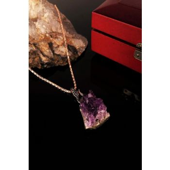 Women's Amethyst Carriage Rose Gold Plated Necklace KRB307