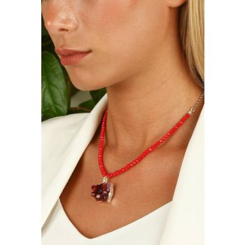 Women's Natural Stone Micron Silver Plated Amethyst Necklace Z121Ar266 Z121AR266