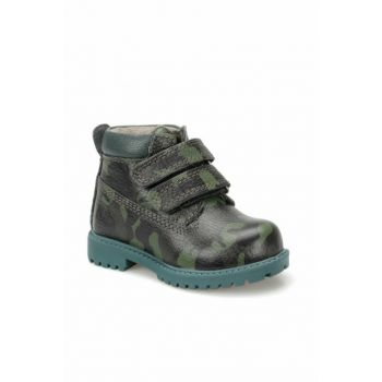 Dark Green Camouflage Leather Boy Boots 000000000100334792