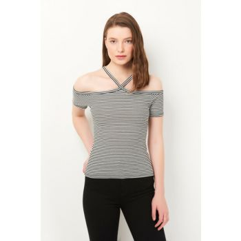 Women's Black Striped Top 167810-900