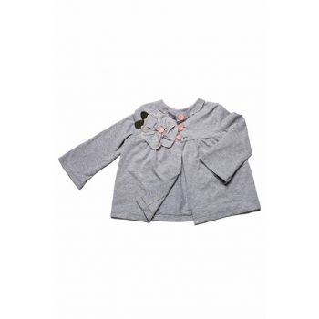 Gray Floral Detail, Front Buttoned Combed Cardigan MG.H01-3