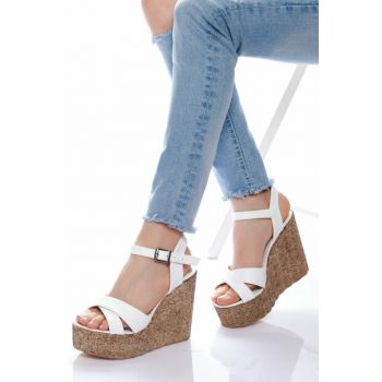 White Women's Wedge Heeled Shoes ABN0400