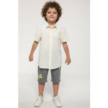 Yellow Single Pocket Teenage Boys Short Sleeve Shirt I8254A6.18SM.YL75