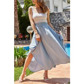 Women's Blue Asymmetrical Skirt 9YXK7-41099-12