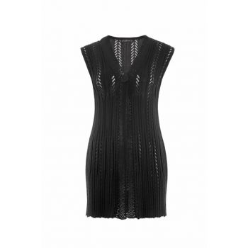 Women's Black Asymmetrical Vest 2051
