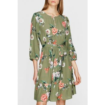 Women's Printed Green Dress 130708-28300
