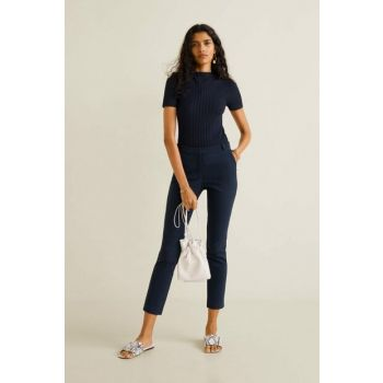 Women's Navy Blue Trousers Short Trousers 53040524