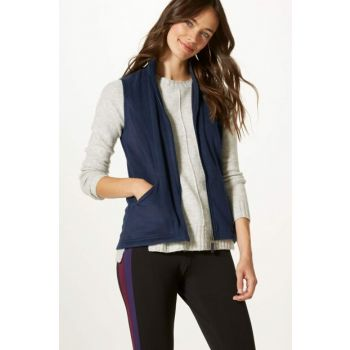Women's Navy Blue Zippered Fleece Vest T49008053