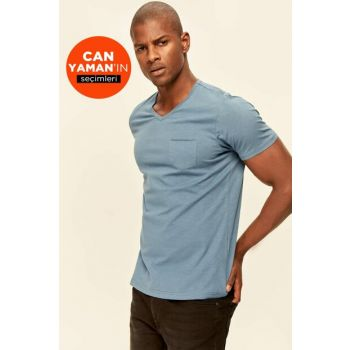 Indigo Basc Male T-Shirt - Narrow Hem Short Sleeve V Neck Pocket Detailed TMNSS19BO0003