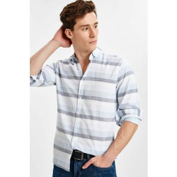 Men's Blue Striped Shirt 9S8289Z8
