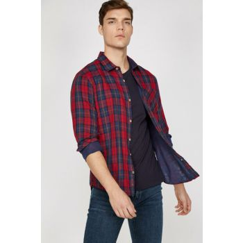 Men's Burgundy Plaid Shirt 9KAM61835BW