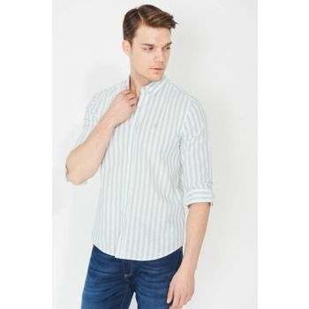 Men's Green Striped Shirt 021233-28751