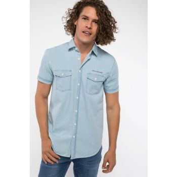 Men's Double Pocket Short Sleeve Slim Fit Denim Shirt I8487AZ.18HS.NM63