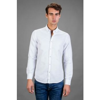 Men's White Slim Fit Fitness Shirt - DR180126-301