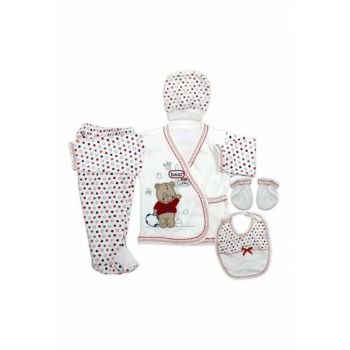 Teddy Bear Newborn Baby 5 Li Hospital Outfit Set With Red Score Hat K2273