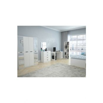 Texas Mirrored Teen Room with 4 Doors (Glossy White) 123TEKSAS006
