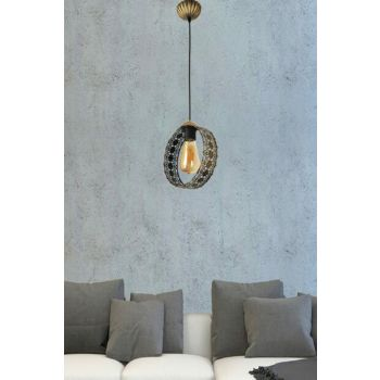 Moon Single Suspension Lamp Black Yellow Patine 601 0567 40 099