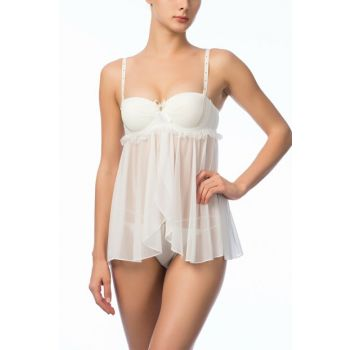 Women's Ecru Fancy Nightdress NBB 3957