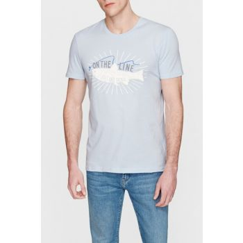 Men's On The Line Printed Blue T-Shirt 8806057-28818