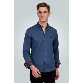 Men's Navy Blue Shirt - 01POP01001-222