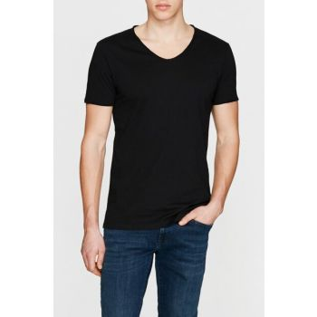 Men's V-neck Black T-Shirt 062773-26341