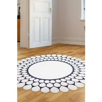 80x80 Dekoreko Figured Round Custom Cut Carpet 111 Black AKC_Eugene-V3_4657_1