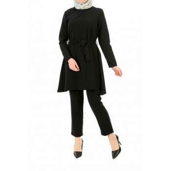 Women's Black Sleeve Elastic Waist Belted Double Suit PIT00055_SYH
