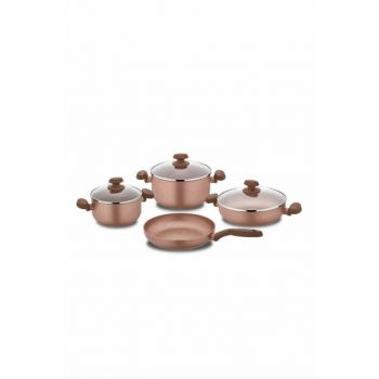 A1145 Korkmaz Mia Granite 7 Pieces Rosa Gold Cookware Set