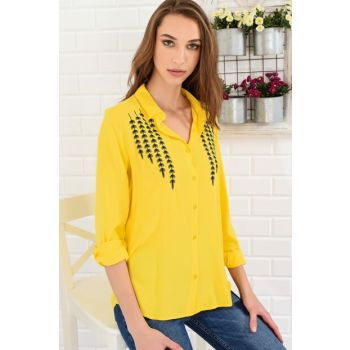Women's Yellow Leaf Embroidery Embroidered Shirt DNZ-2515