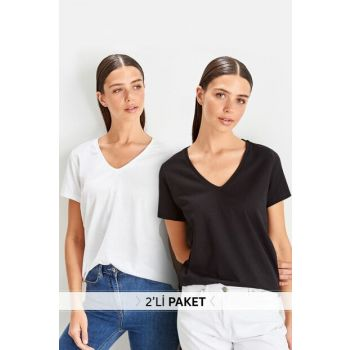 Black and White 2sided V-Neck Basic Knitted T-shirt TWOSS19BO0073