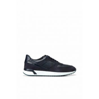 Genuine Leather Navy Blue Men's Sneaker 02AYH133220A680
