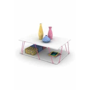 Tars Medium Coffee Table (White-Pink) RF150303