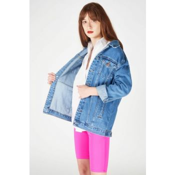 Women's Denim Color Boyfriend Denim Jacket ADX-00005884