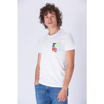 Men's Pocket Watch Printed T-Shirt White 065300-620