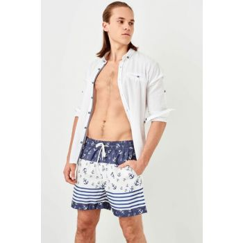White Men's Anchor Patterned Sea Shorts TMNSS19FO0063