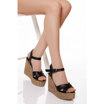 Black Women's Wedge Heeled Shoes ABN0400
