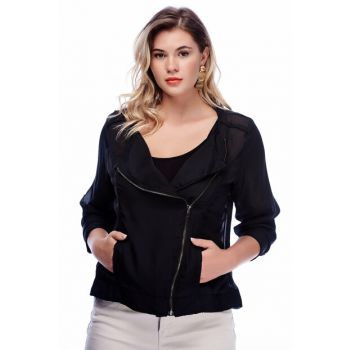 Women's Black Chiffon Zippered Jacket 65N8462