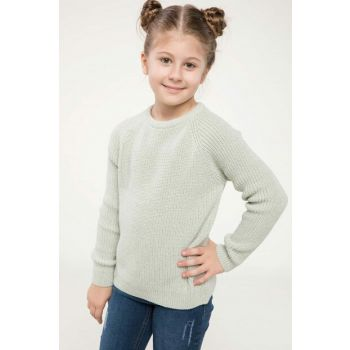Turquoise Young Girl Bird Eye Detail Knitwear Pullover J0650A6.18WN.TR290