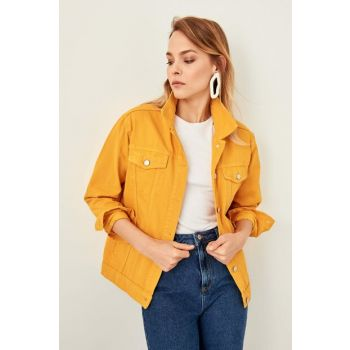 Mustard Pocket Detailed Denim Jacket TWOSS19LR0207