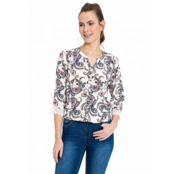 Women's Ecru Printed Shirt 8S2012Z8