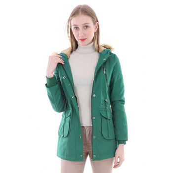 Women's Green Hooded Pocket Detail Coat 9005BGD19_007