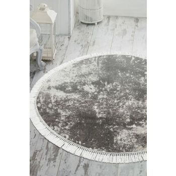 160x160 Dekoreko Pearl Carpet Digital Fringed Round 1898 AKC-20930