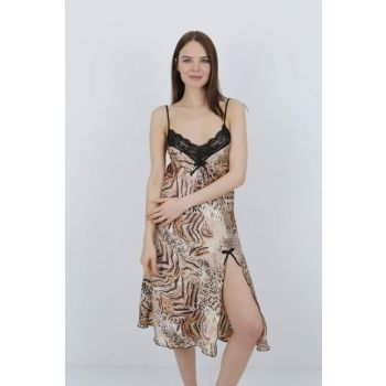 Women's Coffee-Leopard Satin Nightgown MSD-218