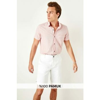 Red Men's Single Pocket Buttoned Collar Short Sleeve Extra Slim Fit Shirt TMNSS19RS0037