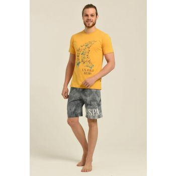 Men's Yellow T-Shirt Shorts Suit US.01.18199.19Y