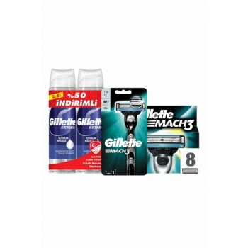 Mach3 Shaver + Replacement Razor Blades 8 + 2 + Shaving Foam Precision 250 ml x 2