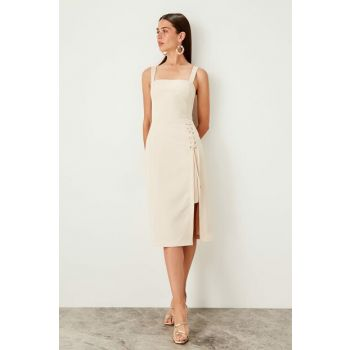 Cream Eyelet Detailed Dress TWOSS19EL0079