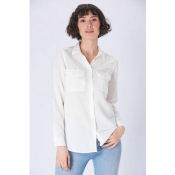 Women's White Shirt with Pockets 122226-28289