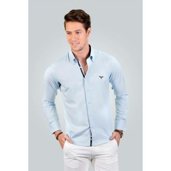 Men's Turquoise Shirt - 01Pop01001-188 01POP01001-188