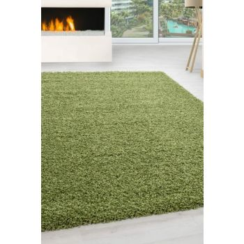 Shaggy Carpet 30 mm long and high furry plain Green color LIFE1500GREEN